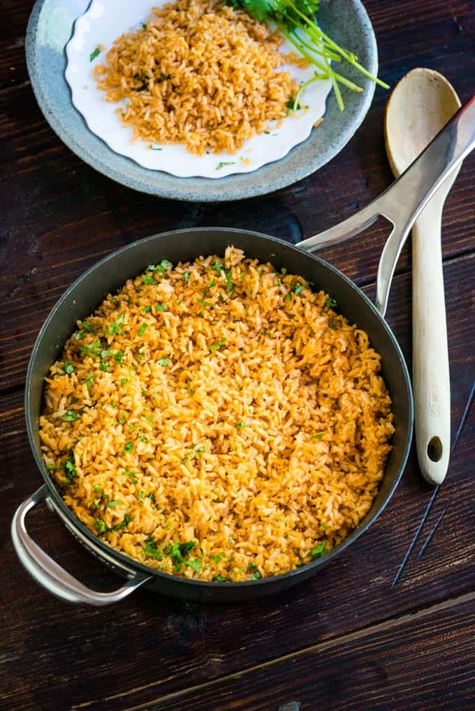 Spanish Mexican Rice cooked in pan