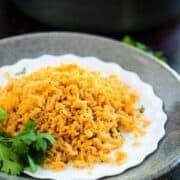 Spanish White Rice on a White plate