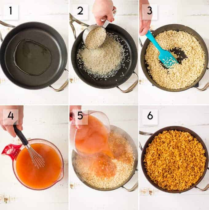 How to Make Spanish White Rice Step-by-step collage