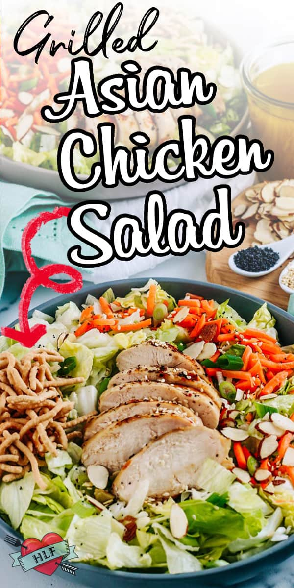 Healthy Asian chicken salad with grilled chicken, carrots, crunchy noodles, almonds and water chestnuts is perfect for meal prep lunches! The sweet and slightly spicy sesame peanut dressing makes the salad perfect! via @hlikesfood
