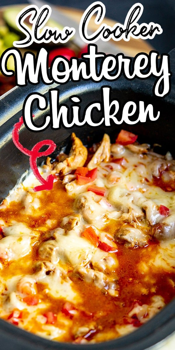 This Slow Cooker Monterey Chicken is cooked low and slow, resulting in explosive flavors! The chicken thighs are cooked in a smokey barbeque sauce and served with a generous helping of melted pepper jack cheese. #montereychicken #slowcookerrecipes #dinnerrecipes #easyrecipe #chicken #slowcooker #crockpotrecipes #recipeforkids #familyfriendly via @hlikesfood