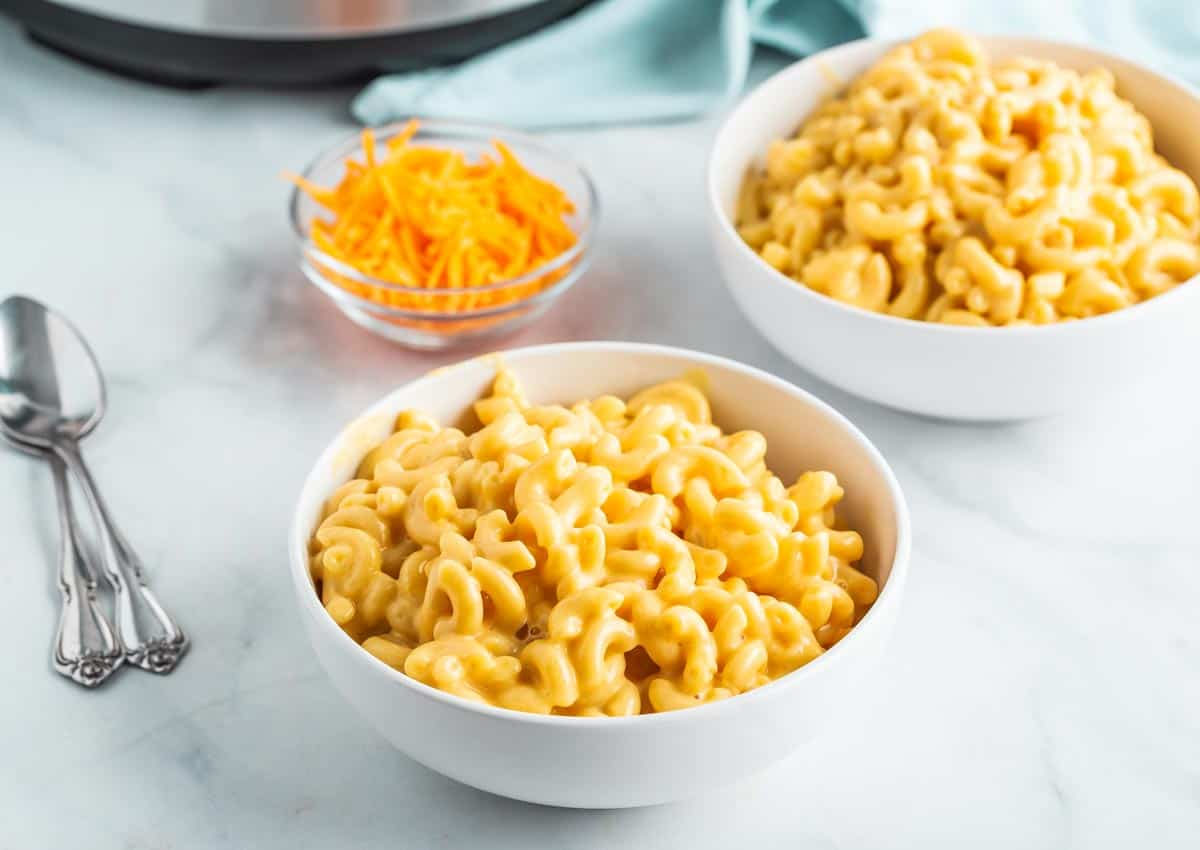 two bowls of macaroni and cheese