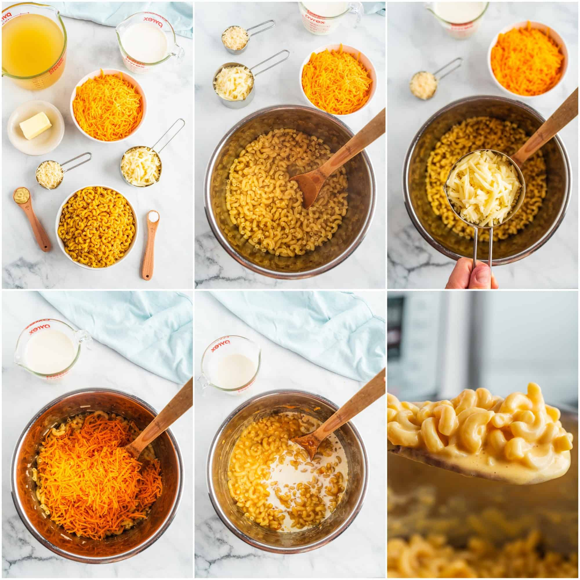 Collage of mac and cheese instructions