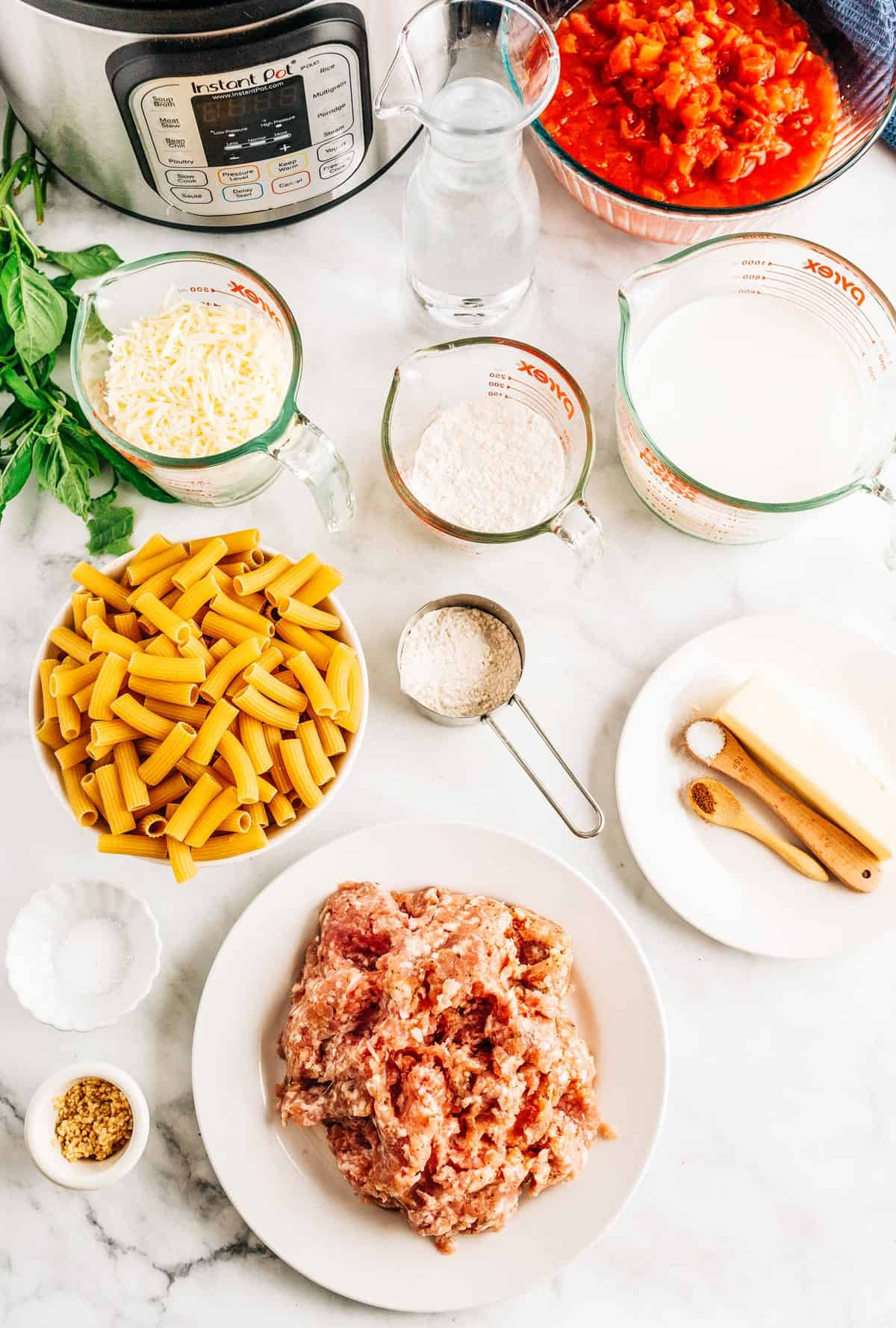 Overhead shot of ingredients for Pasta al Forno