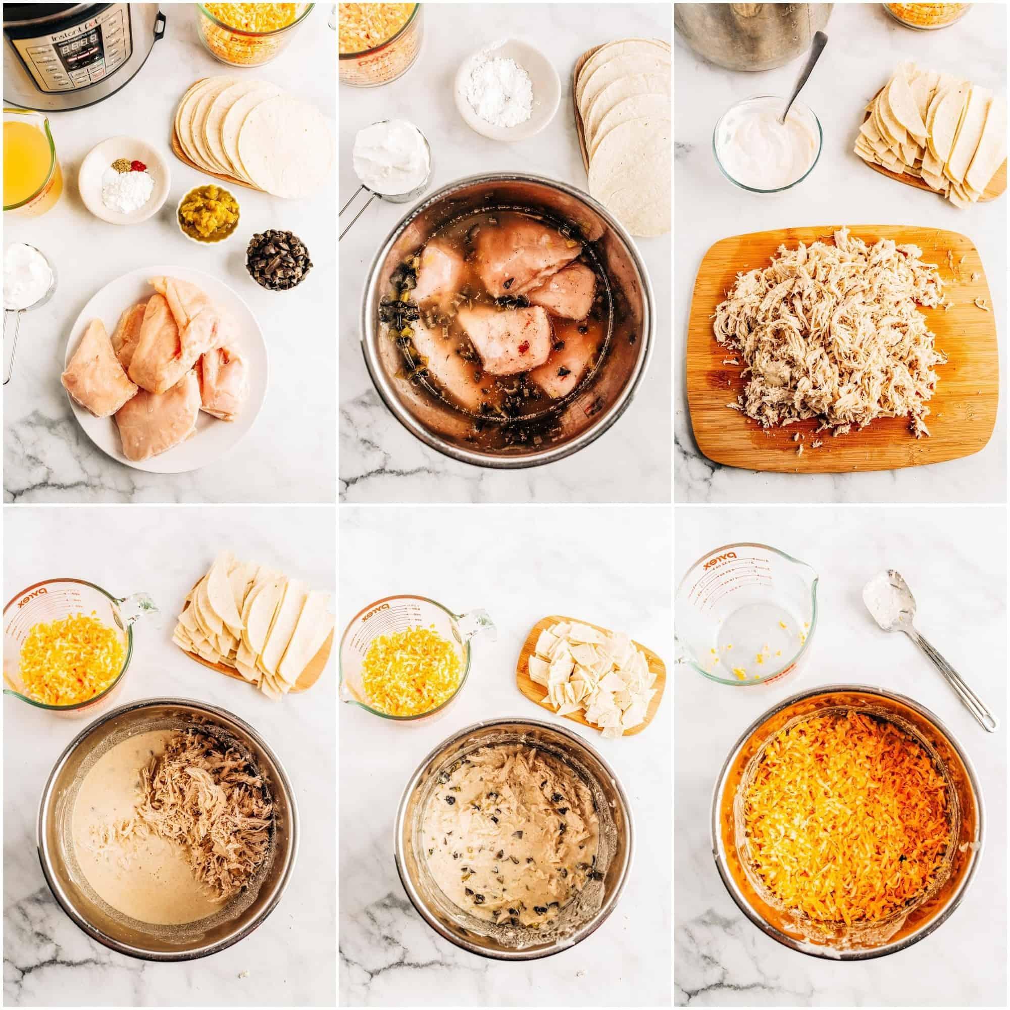 step-by-step collage of making sour cream chicken enchilada casserole
