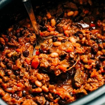Close up of Salsa Black Bean Chili in slow cooker