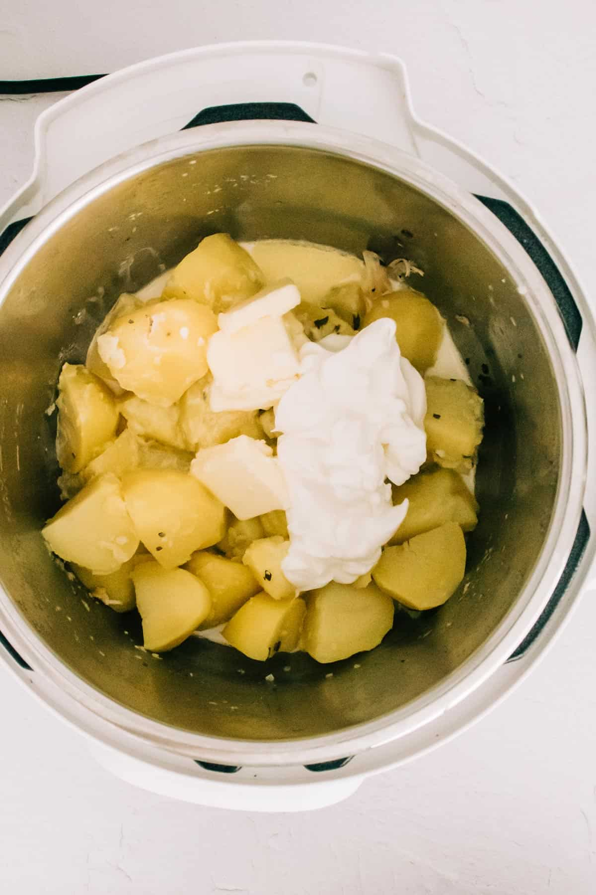 potatoes and sour cream in an Instant Pot