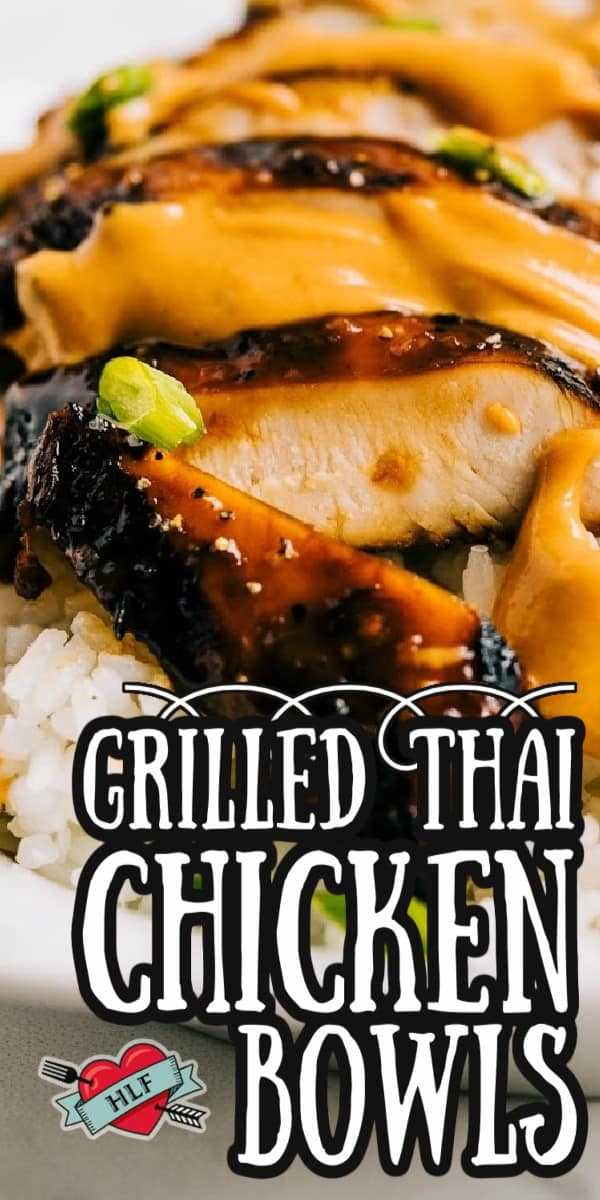 These Grilled Thai Chicken Bowls with Peanut Sauce are full of flavor and fresh ingredients. The grilled marinated chicken on top of crisp Asian vegetables and rice is a heavenly mix you'll want to eat again and again. Healthy, delicious, and easy! These are made on the regular at our house! via @hlikesfood