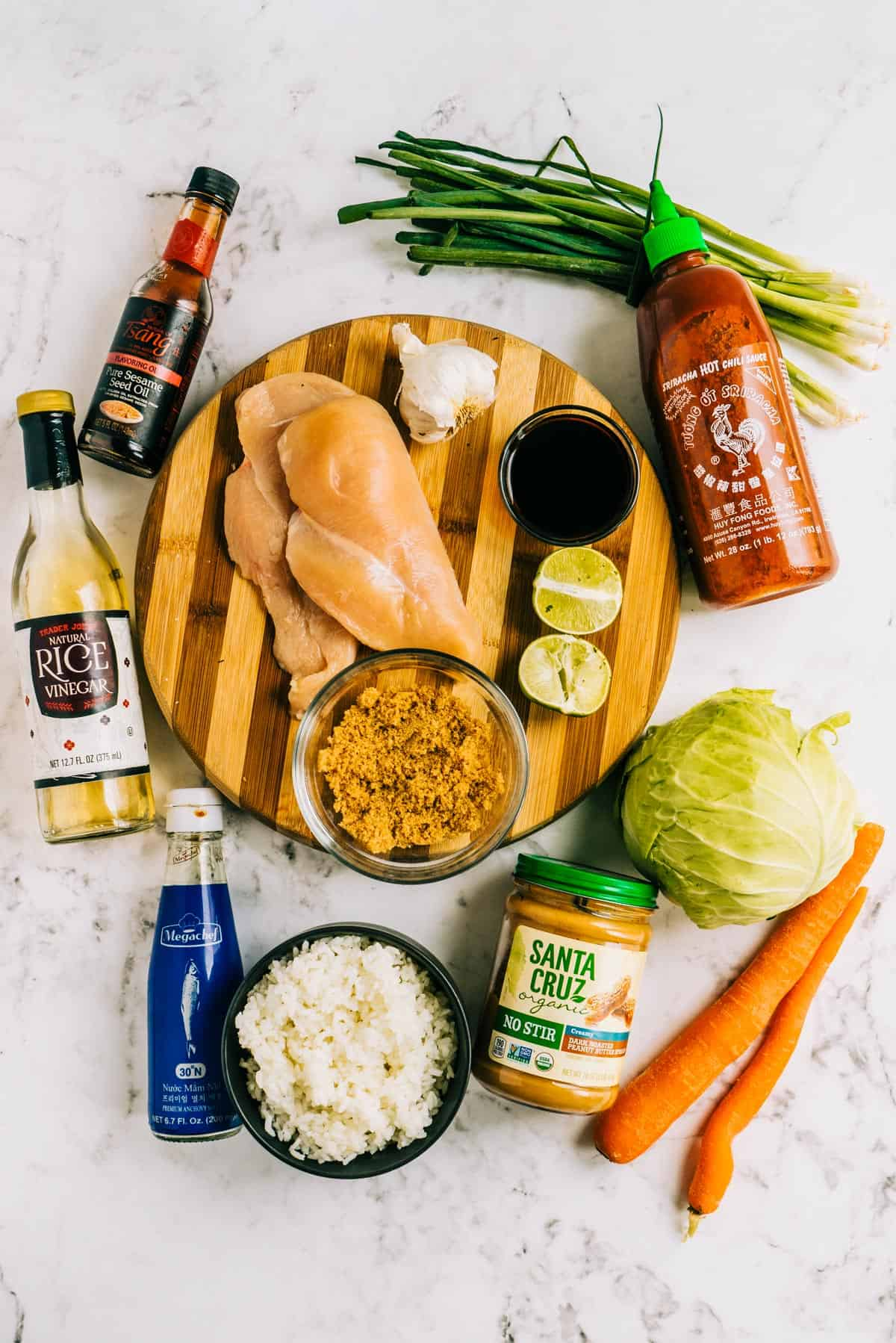 Ingredients needed for Thai grilled chicken bowls