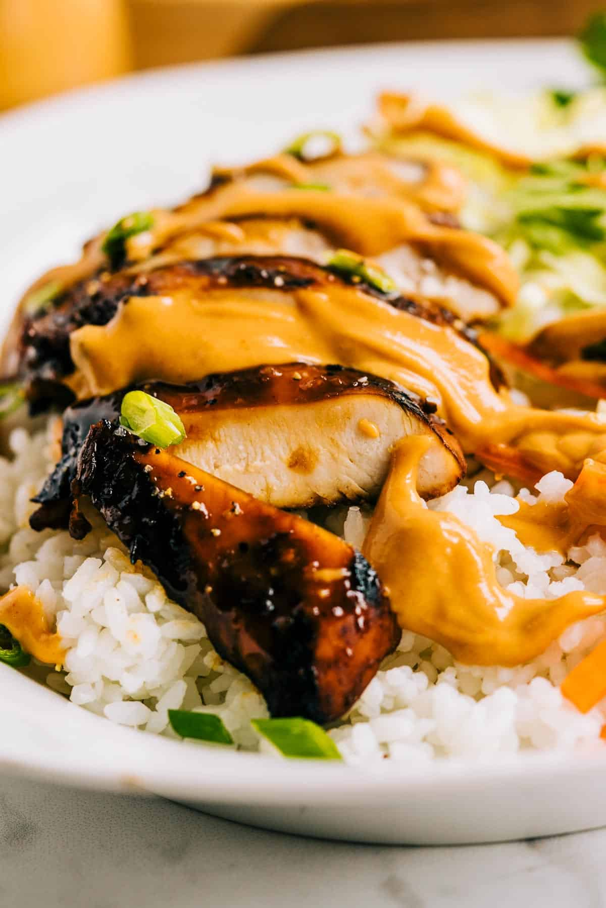 close up of grilled chicken and peanut sauce