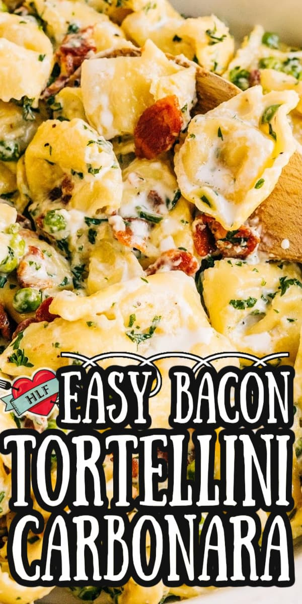 This super easy Tortellini Bacon Carbonara is a rich and creamy alternative from the traditional Italian recipe. It's made with an easy cream sauce and no eggs so you can have this served and ready to eat within 30 minutes! And there's bacon, so you know it's going to be good! via @hlikesfood