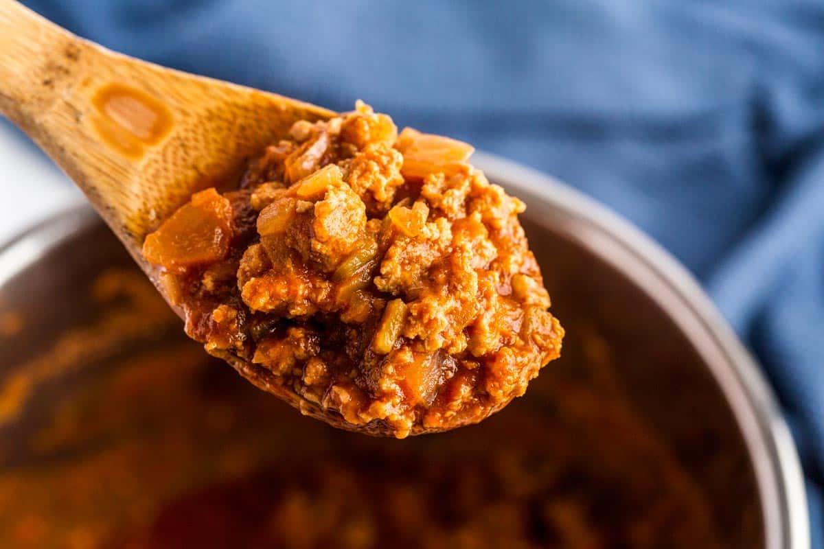 Sloppy joe sauce on a spoon