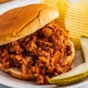 Sloppy Joe on a white plate with pickle and potato chips